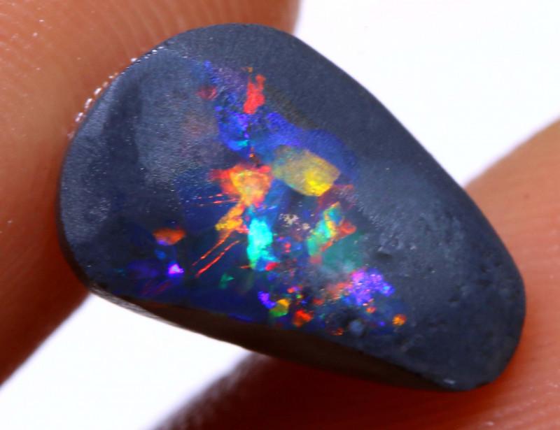 2.10 cts Australian Black Opal Lightning Ridge rub DO-1345