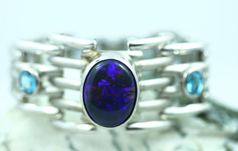 Gem Black opal blue fire in  Hand made Silver Bracelet QOM 2001