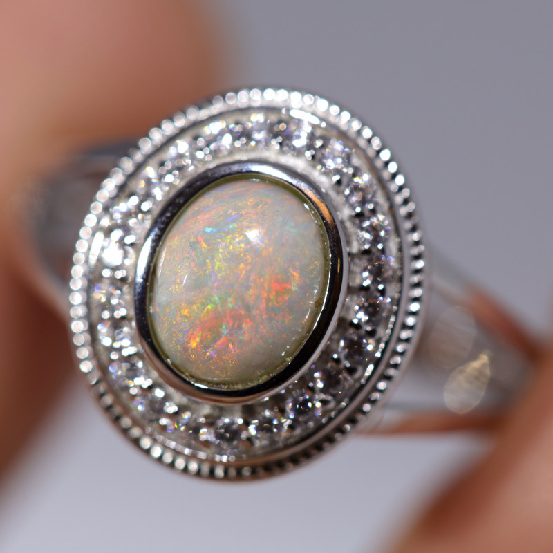 925 ST/ SILVER RHODIUM PLATED CRYSTAL OPAL RING [FR40]