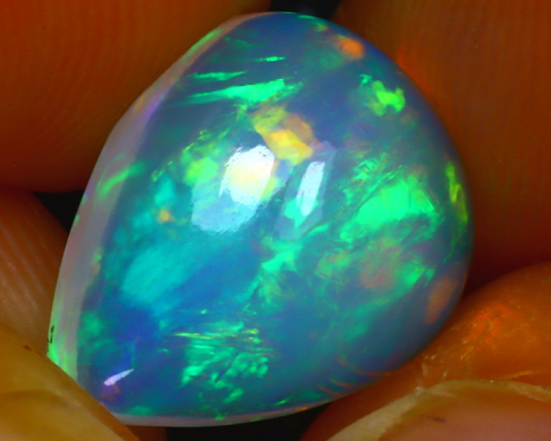 Welo Opal 3.34Ct Natural Ethiopian Blue Base Play of Color Opal HR96