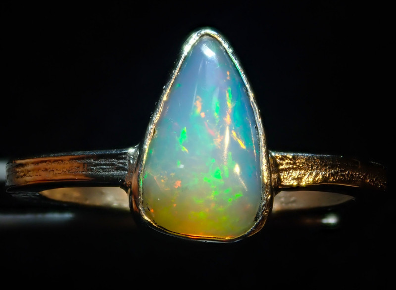 7.7sz SOLID CRYSTAL OPAL HIGH QUALITY .925 STERLING FABULOUS RING