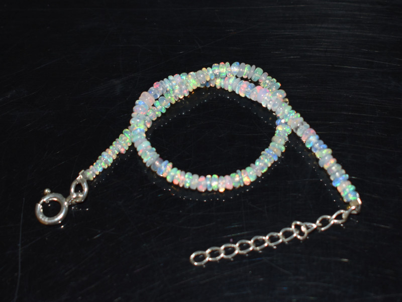 11.30 CT OPAL BRACELET MADE OF NATURAL ETHIOPIAN BEADS STERLING SILVER OBB1