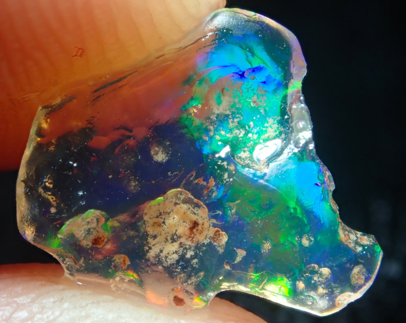 1.22ct Water Opal With Play Of Colour Bright Carved