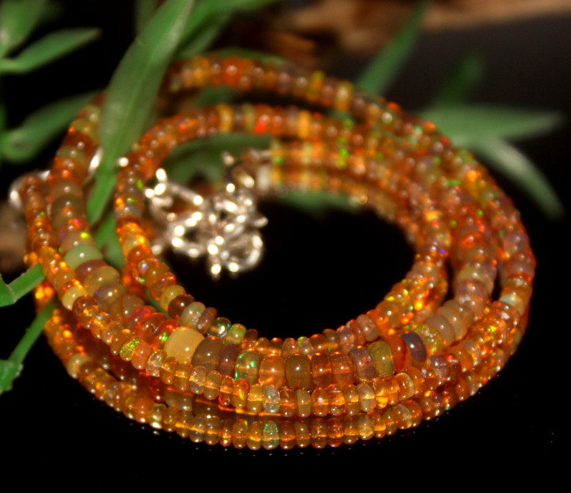 35 Crts Natural Ethiopian Welo Opal Beads Necklace 486