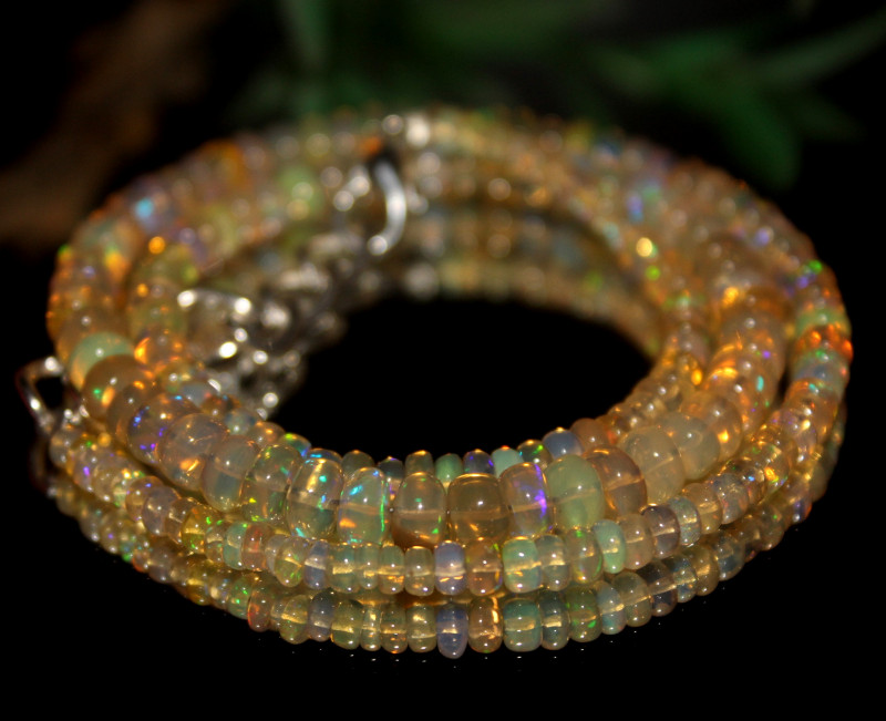 45 Crts Natural Ethiopian Welo Opal Beads Necklace 518