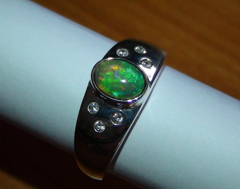 Sz 9.75   Men's 925 Silver Bright Multi Color Opal Ring *