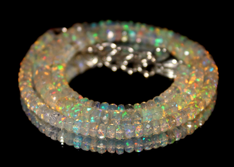 48 Crts Natural Ethiopian Welo Faceted Opal Beads Necklace 193