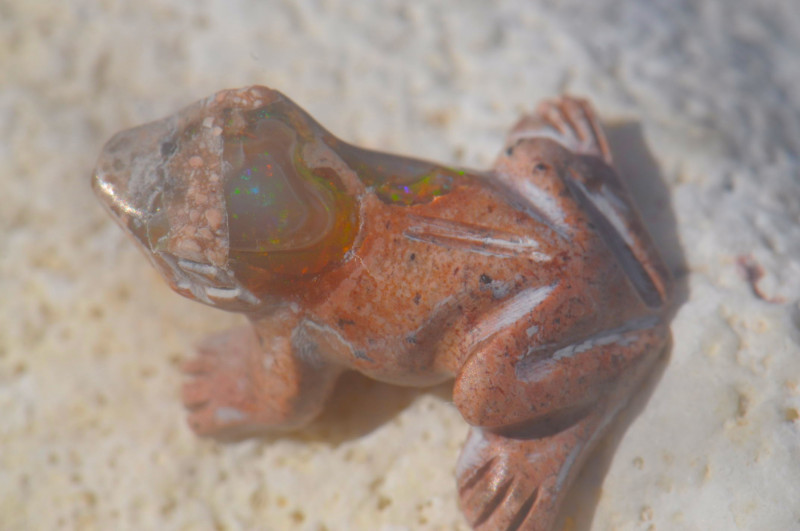 7.42ct Frog Unique Nature Beauty Gift Matrix Opal Carving Mesmerizing
