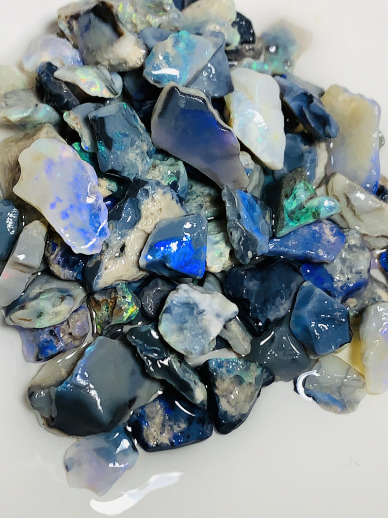 210 CTs Black Rough Seam Opals- Good Potential, Mix of Sizes#253