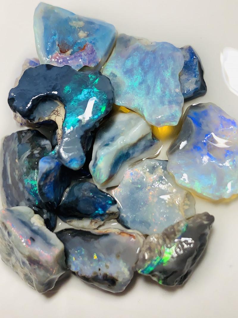 Cutters Select Bright Black Rough Seam Opals- No Gamble#320