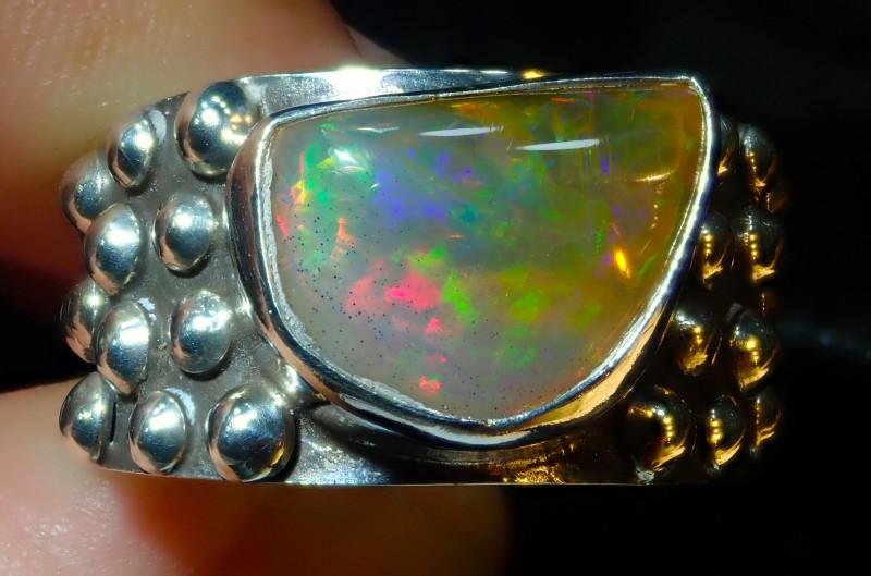 11.5sz Ethiopian Welo Opal .925 Sterling Silver Ring