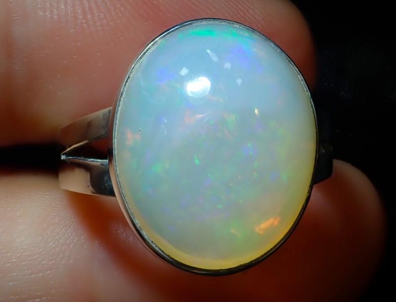 11.2sz Ethiopian Welo Opal .925 Sterling Silver Ring
