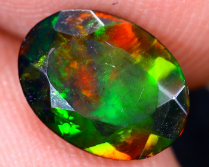 1.28cts Natural Ethiopian Welo Faceted Smoked Opal / HM2086