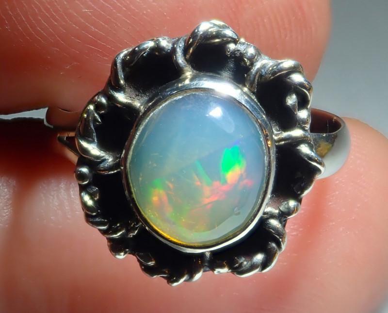 6.5sz Ethiopian Welo Opal .925 Sterling Silver Ring
